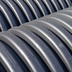 Close-up image of corrugated plastic pipes